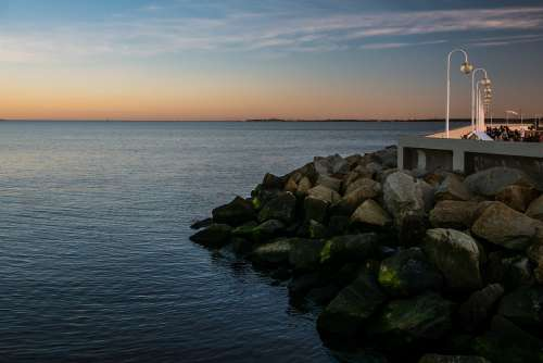Rocks Sopot Poland Sea Seaside Coast Sky