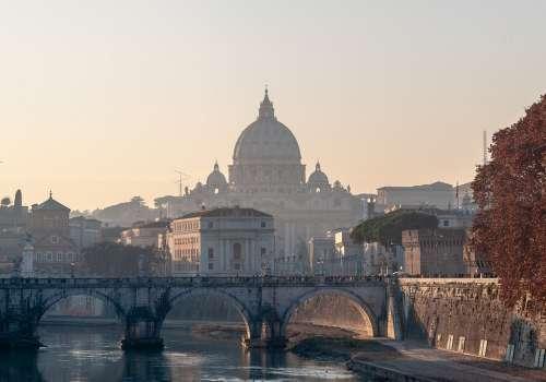 Rome Sunset Bridge Dome Architecture City