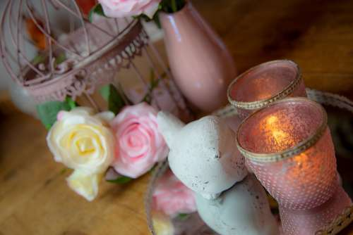 Rose Pink Vase Candle Bird Tray Romantic Love