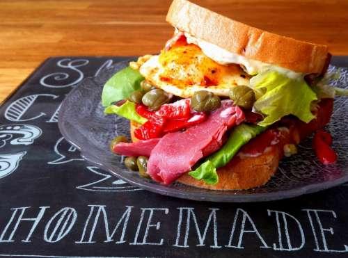 Sandwich Pastrami Egg Bread Lunch Beef Delicious