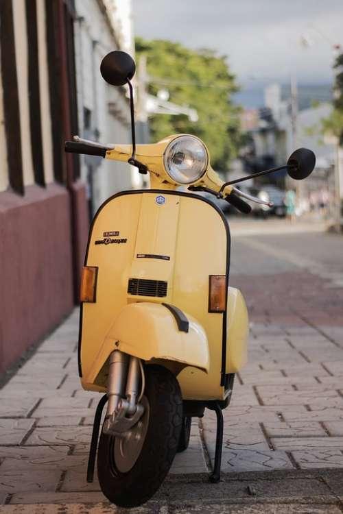 Scooter Yellow Vehicle Retro Vintage Street