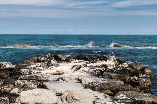 Sea Sky Beach Stones Water Clouds Nature Costa