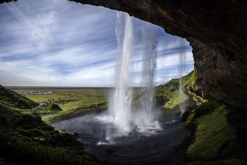 Seljalandsfoss Waterfall Iceland Nature Power