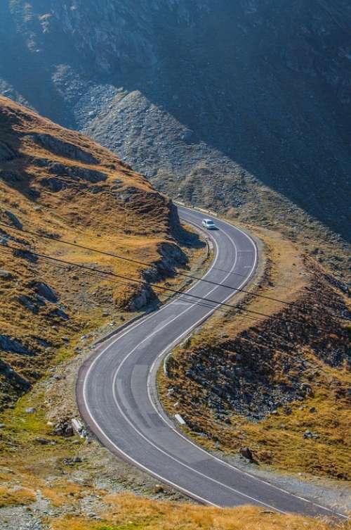 Serpentine Alps Mountain Car Road Landscape View