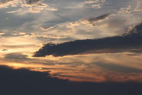 Skies Sunset Clouds Evening Atmosphere Romantic