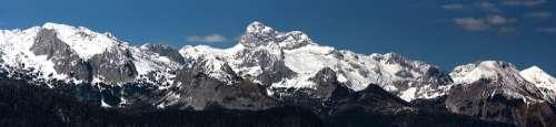 Slovenia Mountains Triglav Peak Snow Sky Blue