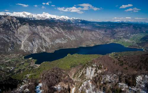 Slovenia Bohinj Lake Panorama Sky Mountains