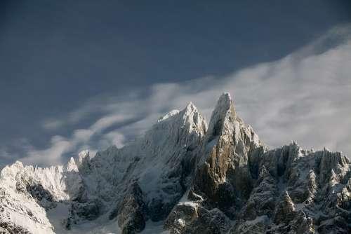 Snow Mountain Panoramic Sky Landscape Nature