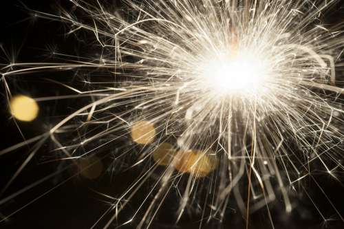 Sparkler New Year Sparks Glowing Sparkle Black