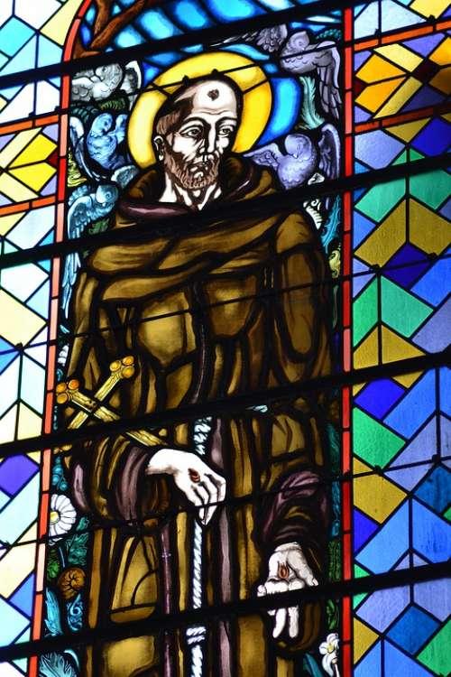 Stained Glass Colorful Saint Church Faith Glass