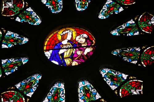 Stained Glass Rosette Colorful Sainte Maxellende