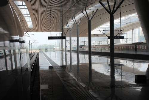 Station Shanghai Train Platform Gray Reflection