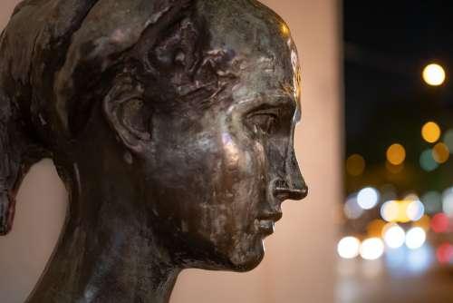 Statue Face Sculpture Head Woman Lights Portrait