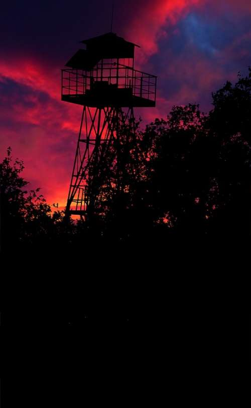 Sunset Tower Watch Fortress Architecture Landscape