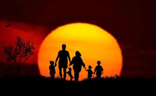 Sunset Family Landscape Silhouette More Children