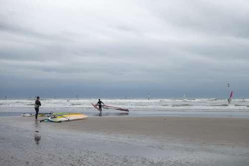 Surf Windsurf Beach Sea Noordwijk Surfer Wind