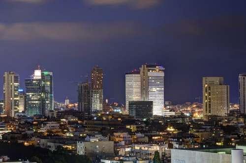 Tel Aviv Night Israel City Building Dark Urban