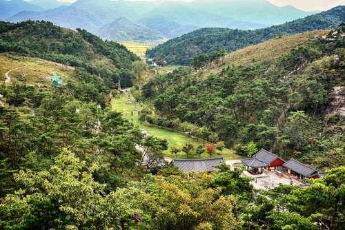 Temple Mountain Section Landscape Korea Tourism