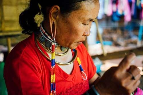 Thailand Woman Culture Tribal Craft Tourism Thai