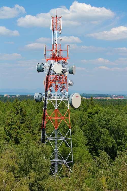 Tower Mast Transmitter Vykrývač Signal Mobile