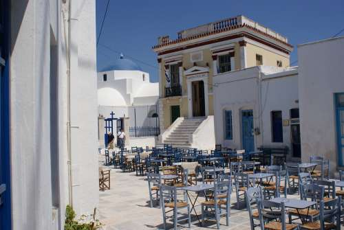 Town Hall Cyclades Greece Sea Architecture