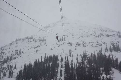 Tram Skytram Jasper Summit Fog Winter Risk