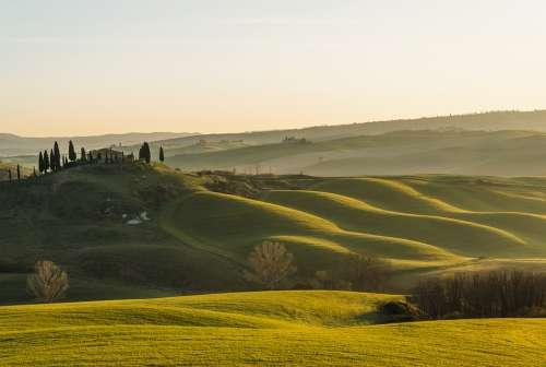 Tuscany Sun Hills Green Landscape Sunset Trees