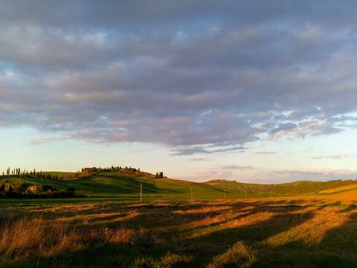 Tuscany Italy Hills Sunset Panorama Castle Clouds