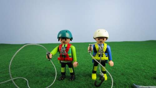 Two Climbers With Equipment Playmobil Miniature