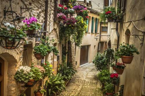 Umbria Italy Alley Architecture Construction