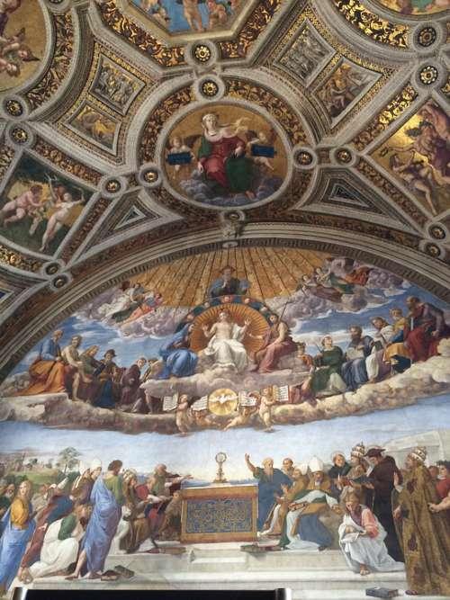 Vatican Museum Art Religion Gallery Ceiling