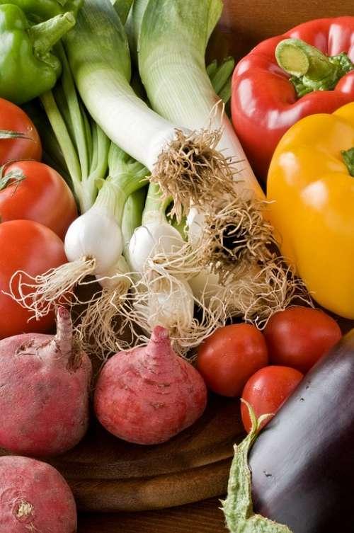 Vegetables Eggplants Food Freshness Garlic Leek