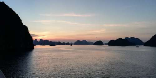 Vietnam Ha Long Bay Sunset Asia Sea Light