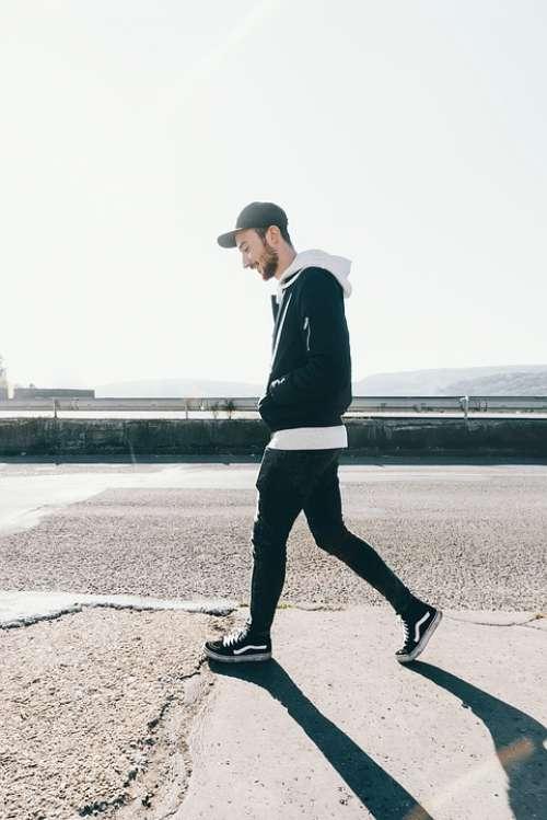 Walking Man Person City Adult Cap Happy Street