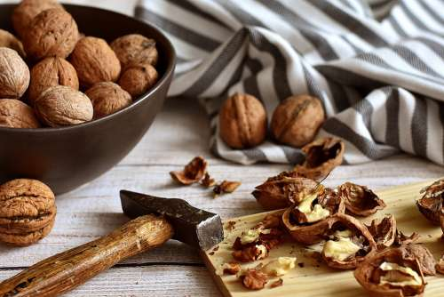 Walnuts Cracked Hammer Rustic Food Nutshell Nuts