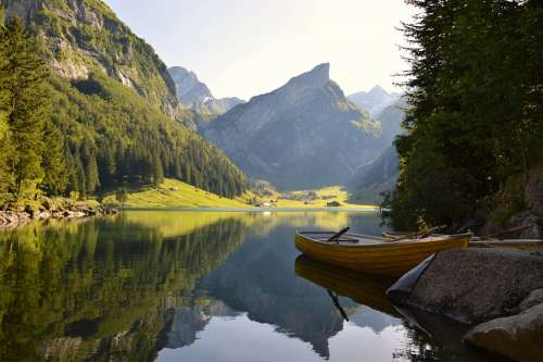 Water River Lake Mountains Alpine Boat Forest