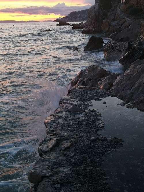 Water Coast Sunset Rocks Sea Waves