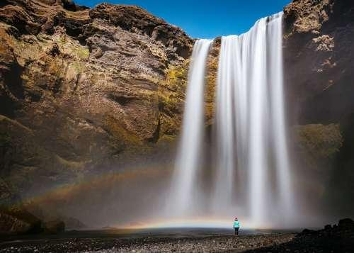 Waterfall Hill Rocks Water Blue Sky Nature