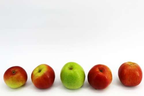 White Background Yellow Apples Four Fruits Black