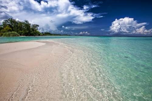 White Sand Beach Ripples Shallow Sea Turquoise