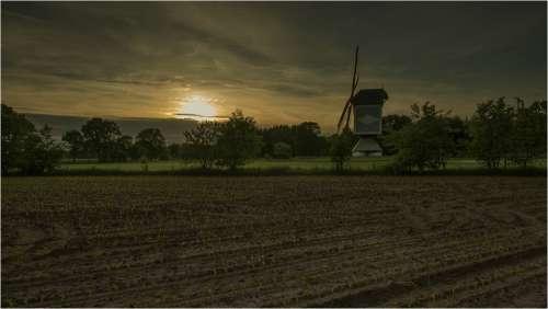 Wind Mill Sunset Landscape Twilight Dutch Evening