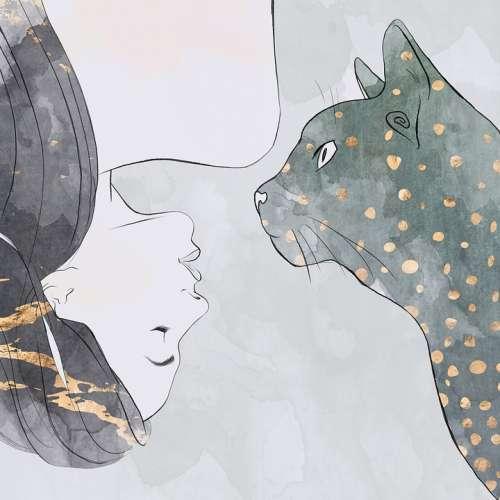Woman Cat Pet Girl Animal Attractive