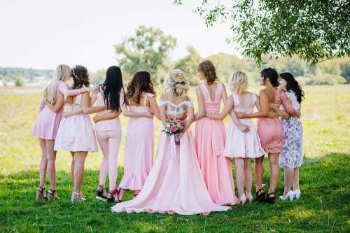 Woman Bridal Party Lineup Wedding Bride