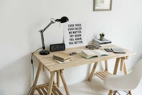 Workspace Wooden Table Lamp Book Motivation