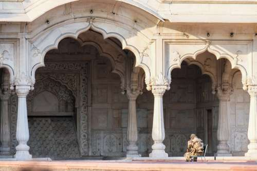 Military Man Guarding the Entrance of a Temple at the Red Fort, Delhi