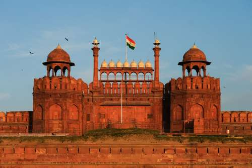 Front View of Red Fort at Sunset
