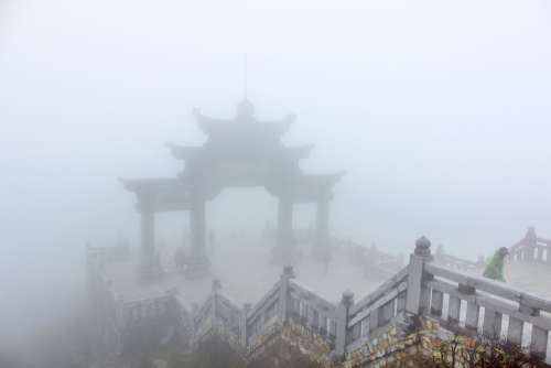 Foggy Temple Entrance