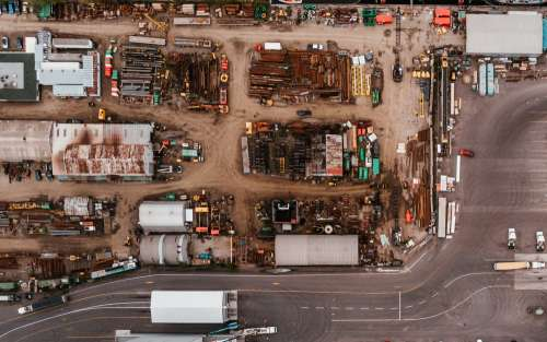 A Drone Shot Of A Scrap-Metal Area Photo