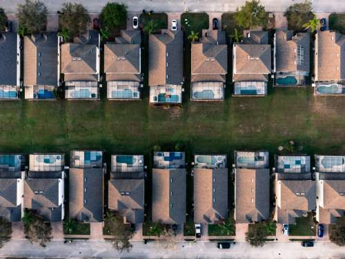 A Drones Overhead View Of An Urban Sprawl In Florida Photo