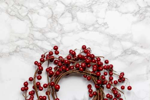 Berry Wreath On Marble Photo